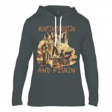 Anvil Fashion Basic Long Sleeve Hooded T-Shirt  Huntin Shootin And Fishin