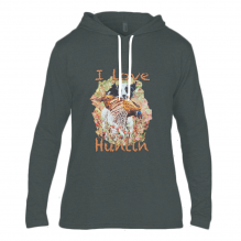 Anvil Fashion Basic Long Sleeve Hooded T-Shirt I Love Huntin